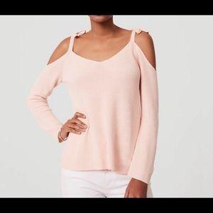 Loft Pink Knit tie cold shoulder sweater